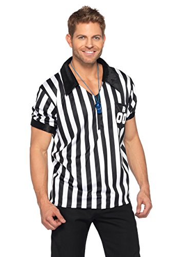Leg Avenue Men's 2 Piece Referee Costume, Black/White, Medium/Large