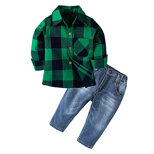 Baby Boys Kids Spring Clothing Set Toddler Infant Long Sleeve Plaid Shirt Denim Pants 2 Pieces (Age: 2-3 Years, Green)