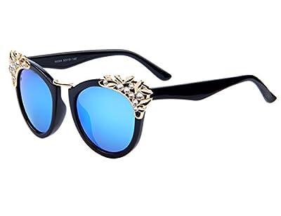 Kai Ji Womens Cat Eye Inlaid Crystal Black Frame Clear Lens Sunglasses