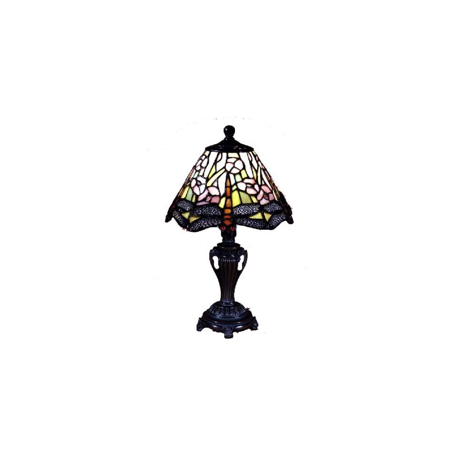 Dale Tiffany 8033/640 Dragonfly Accent Lamp, Antique Bronze and Art Glass Shade
