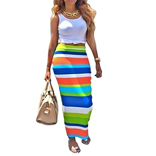 [Womens Crop Top Midi Skirt Outfit Two Piece Bodycon Maxi Dress White M] (Sexy Outfit Women)