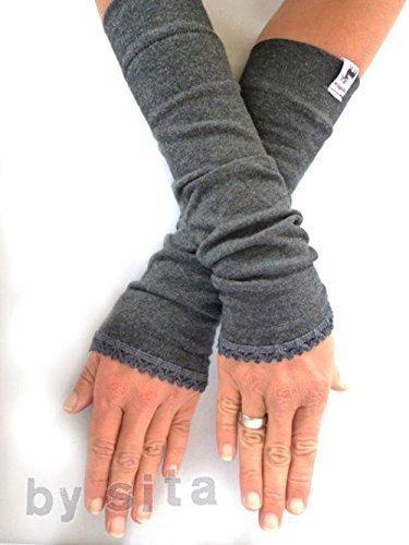 Armstulpen, lang - dunkelgrau, meliert mit elastischer Borte