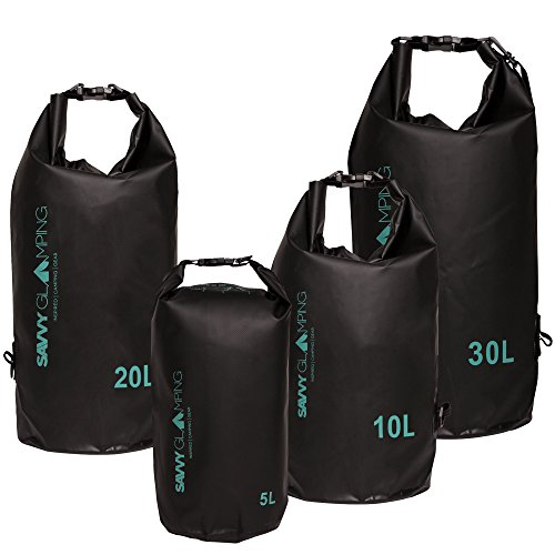 Waterproof Dry Bags - 5L, 10L, 20L, or 30L - Lightweight Wet Dry Sacks for Protecting Gear while Hiking, Camping, Kayaking, Rafting, Canoeing, Paddle Boarding, Boating, Beach & More (Large Dry Sack)