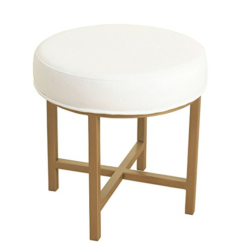 HomePop Round Metal Base Ottoman/Stool, White ()