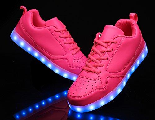 Mohem Shinynight Hög Topp Ledde Skor Lyser Usb-laddning Blinkande Sneakers Pink009