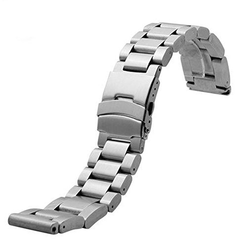 Fold Double Over Clasp Locking - YISUYA 24mm Solid Stainless Steel Band 2.4cm Width Wrist Watch Band Strap Double Locking Fold-over Clasp Mens Steel Straps Silver