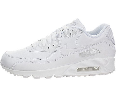 Nike 302519-113: AIR Max 90 Leather White/White Lifestyle Running Mens Sizes (7.5)