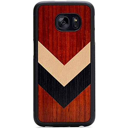 Carved Corporal Inlay Samsung Galaxy S7 edge Traveler Wood Case - Black Protective Bumper with Real All Wooden Sales