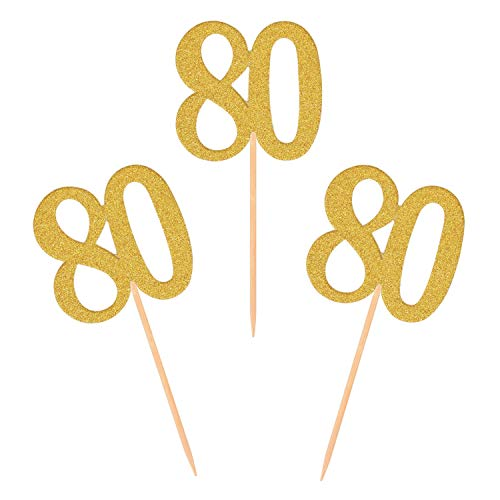 Donoter 50pcs 80th Cupcake Toppers Gold Glitter Number 80 Cake Picks for Birthday Anniversary Party Decoration -