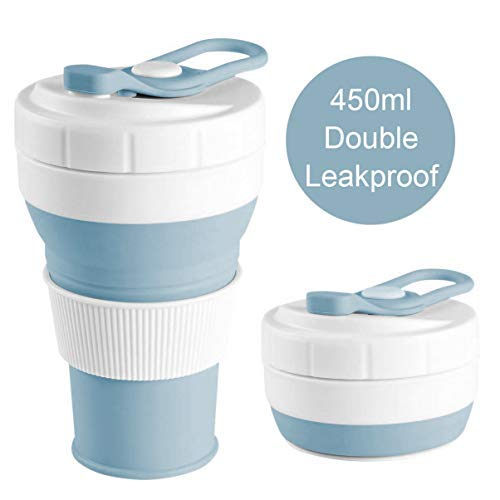 Upgraded Collapsible Silicone Coffee Cup,Leakproof 16oz 450ml BPA Free Eco...