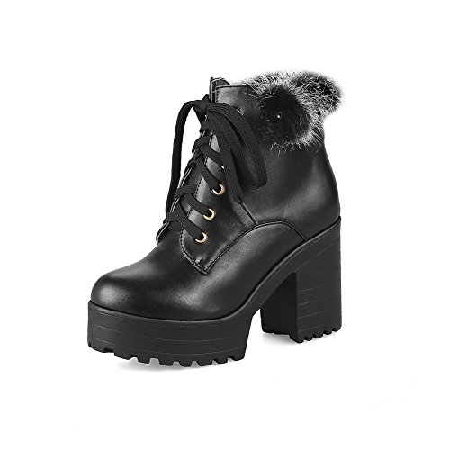 1TO9 Womens Boots Lace-Up Mid-Heel Waterproof Rubber Warm Lining Fringed Smooth Leather Fur-Lined Dress Urethane Boots MNS02554 Black iEav4Xe