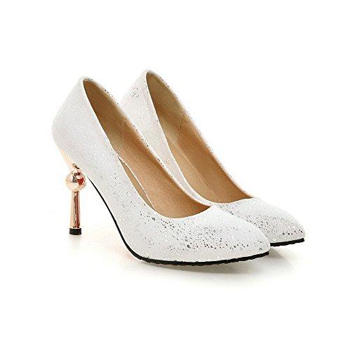 AllhqFashion Damen Stiletto Rein Ziehen auf Mattglasbirne Spitz Zehe Pumps  Schuhe Weiß ...
