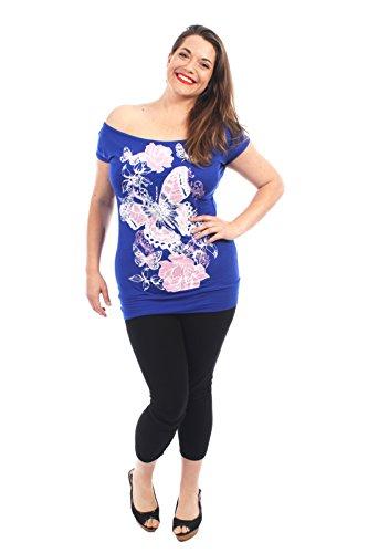 Royal Pickle Chocolate Blue T Butterfly Volez Encolure beurre Shirts Nouveaux Hauts Mesdames Paillettes florale 7dBqW1dU