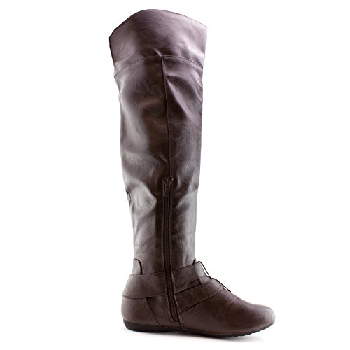 Brown Faux Women's Leather Knee Kali Over Adults Boots 6aqnw0