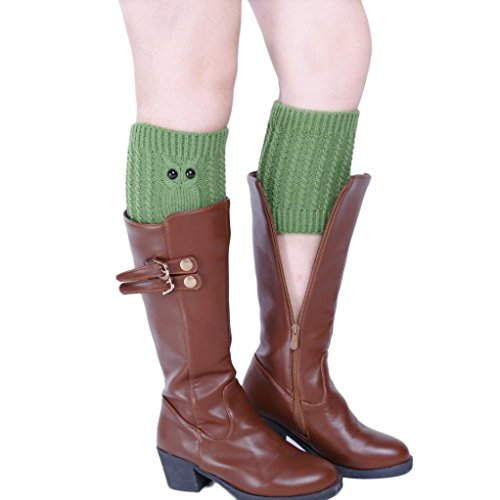 Leg Warmers,Haoricu 1 Pair Women Fashion Keep Warm Owl Knitting Stocking Leg Cover Trim Socks (Green)