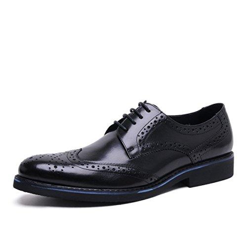 En Respirante En GRRONG Cuir Homme Chaussures Pour Cuir Pointu Black Véritable Tenue vX5XB