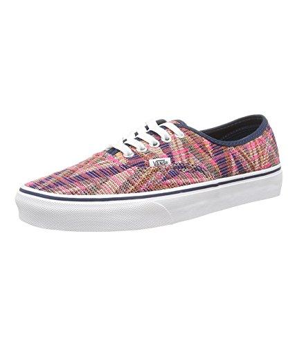 Vans Authentic Unisex Canvas Sneakers (Woven Chevron) Pink True White 9.5B(M)US Women, 8.0 D(M)US Men