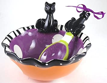 Festive Halloween Dip Candy Ruffled Bat Bowl with Spoon Scoop Mud Pie