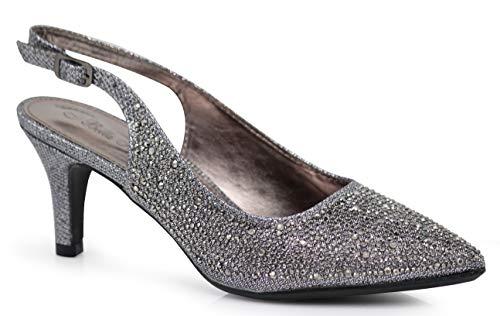 Jupiter Women's Pointy Toe High Mid Heel Sexy Ankle Strap Sandals Ballerina Dress Pump Ballet Wedding Patent Harlow Pump Shoes (8.5 B(M) US, Pewter (06)) ()