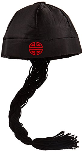Forum Novelties Men's Chinese Man Pig Tail Hat Costume Accessory, Black, One (Costumes With Pigtails)