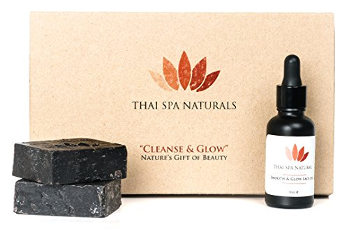Thai Spa Naturals Cleanse and Glow Black Sesame Anti-Aging Face Oil and Cleanser Soap Set