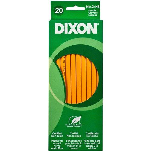 20 Dixon Pencils - No. 2 / HB Real Wood - Latex Free Eraser