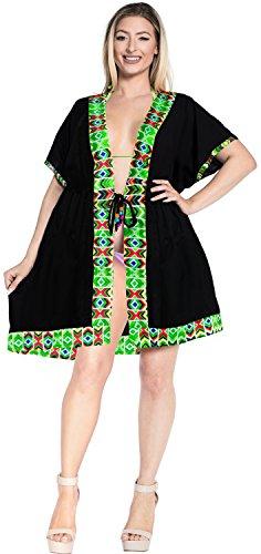 La Leela Las Mujeres Del Traje De Baño De Rayón Suave Rebeca Ropa De Playa, Más Negro Vestido De Encubrimiento Verde Negro