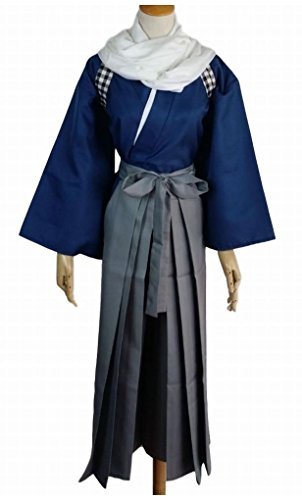POJ Japanese Samurai Costume [ M / L / XL Size Blue / Red for Unisex ] Anime Cosplay (XL, Blue) (Female Marvel Characters Costumes)