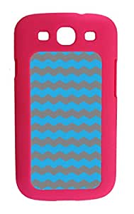 Galaxy S3 i9300 Cases Customized Gifts Cover S3 Case Zigzag Wave Design Sky Blue and Dark Grey - Ideal Gift