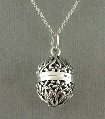 Filigree Egg Locket Pendant Necklace For Women Silver Jewelry NEW