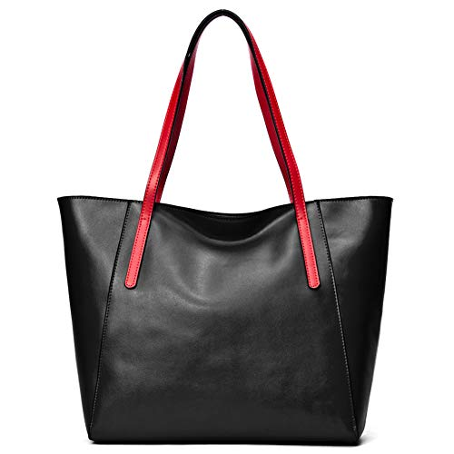 CHERRY CHICK Large Capacity Genuine Leather Tote Bag Purses Soft Hot (Black with Red Strap)