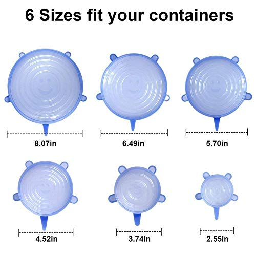 Food Grade Easy to Clean Reusable Silicone Stretch Lids (12, Transparent and Blue) by WDWYW (Image #8)'