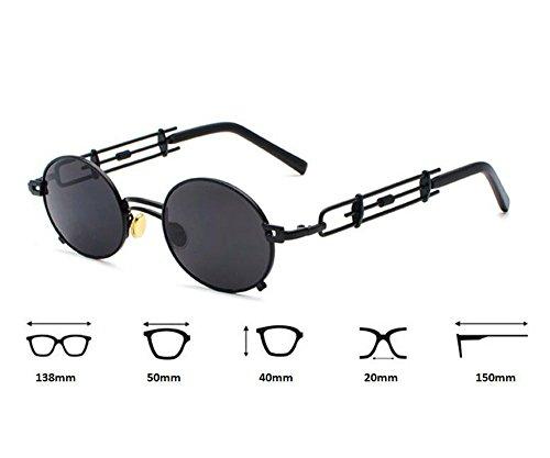 de ovales Fashion Non Vintage Argent métal polarisé Steampunk en Keephen Bleu lunettes Classique soleil nAzq10