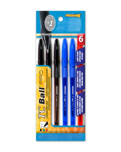 Promarx TC Ball Pro Grip Stick Pen, 1.0 mm, Assorted Colored Ink, 6-Count