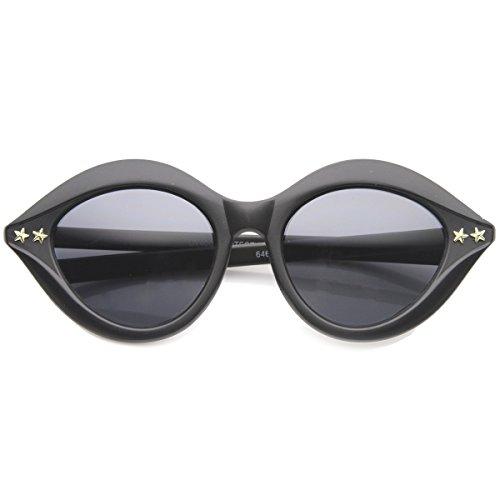 Mod Star - zeroUV - Womens Fashion Lips Cat Eye Mod Stars Sunglasses (Matte-Black-Gold Smoke)
