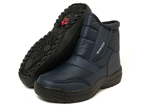 [WINTER]ウィンター5693防寒ファー・折りたたみスパイク付き本格ブーツ(26.5cm,ネイビー)