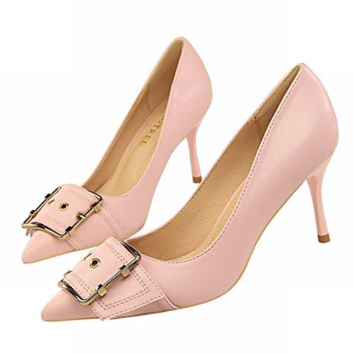 MissSaSa Damen Spitz Leder-Pumps mit Riemchen Pink
