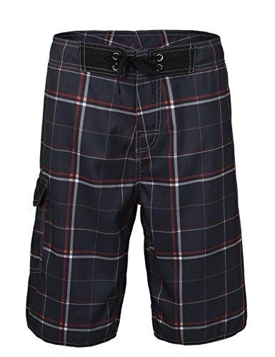 Unitop Men's Board Shorts Summer Holiday Plaid Pattern Quick Dry Black-39 40