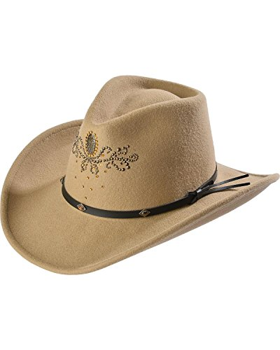 Master Hatters Women's Destiny Rhinestone Embellished Crushable Wool Cowgirl Hat Putty Small