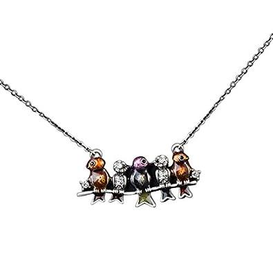 Damen-Schmuck Halskette Versilbert Vögel auf Ast Frau Geschenk zu Weihnachten