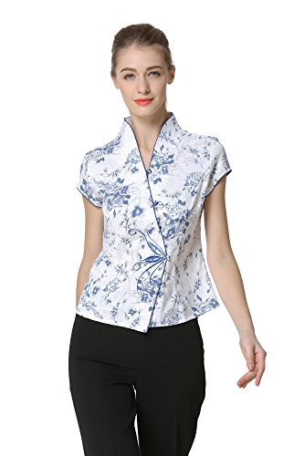 Bitablue Women's Blue-and-White Flowers Chinese Blouse (X-Large)