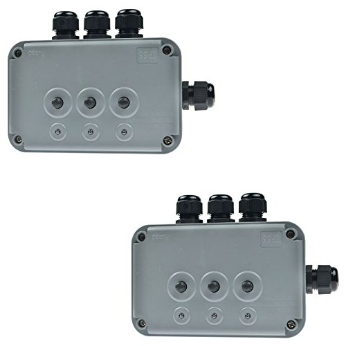 SuperInk 2 Pack 15A 125VAC 3-Gang Power Control Switch Junction Box Weatherproof Outdoor Switched with 3 x Push Switches w/indicators and 4 x 20mm Cable Gland IP66 - Preminum Outlet