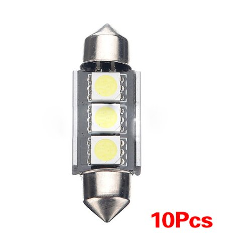 SODIAL(R) 10X CANBUS 36mm Free Error 3 LED 5050 SMD 6418 C5W Placas Dome Bombilla