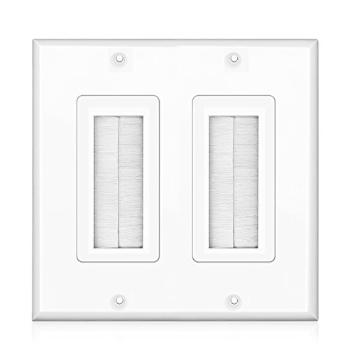 Thru Wall Plate 2 Gang (TNP Brush Wall Plate - Double 2 Gang Cable Entry Access Brush Bristles Style Strap Opening Port Insert Socket Wiring Plug Jack Decorative Face Cover Outlet Mount Panel (White))