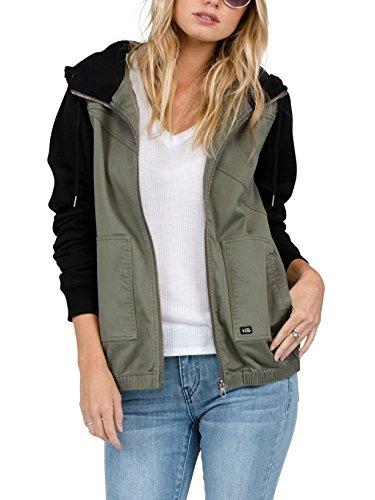 Volcom Women's Frochickie Fleece Sleeve Hooded Jacket, Arc, L