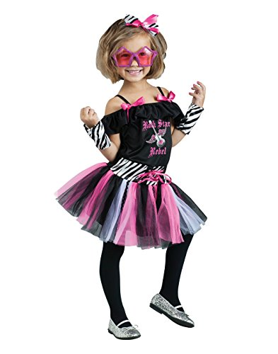 Fun World Costumes Baby Girl's Rock Star Toddler Costume, Black/Pink, Large]()