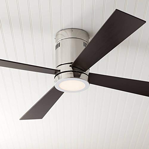 52' Revue Modern Hugger Ceiling Fan with Light LED Remote Flush Mount Brushed Nickel Oiled Bronze for Living Room Kitchen - Casa Vieja