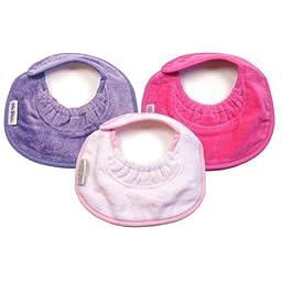 Girl Newborn Bibs 3 Pack in Lilac / Pale Pink / Fuchsia