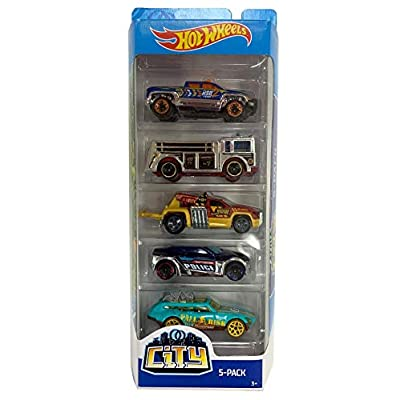Hot Wheels 2020 City 5-Pack (Off-Duty, Fire Eater, Repo Duty, Symbolic, Tour De Fast): Toys & Games
