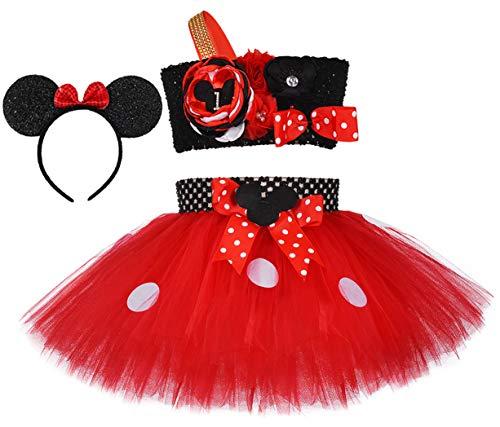 Tutu Dreams Minnie Costume Toddler Girls Kids 3rd Birthday Tutu Set Outfits 1t 2t 3t 4t 5t 6t (Red Minnie, 3rd Birthday)